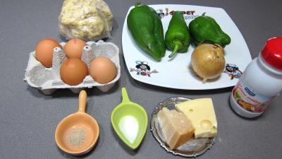 Ingrédients pour la recette : Quiche aux poivrons