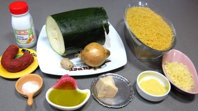 Ingrédients pour la recette : Courgettes au chorizo et cheveux d'ange