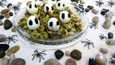 Oeufs : Assiette de fondue de poireaux aux oeufs fantômes