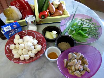Ingrédients pour la recette : Soupe de noix de Saint-Jacques