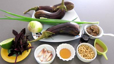 Ingrédients pour la recette : Aubergines en salade au sésame