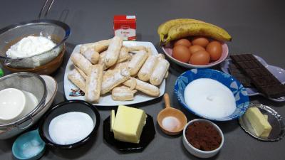 Ingrédients pour la recette : Cheese cake au chocolat bananes