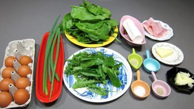 Ingrédients pour la recette : Omelette au chèvre et pissenlits