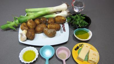 Ingrédients pour la recette : Brandade de gambas aux poireaux