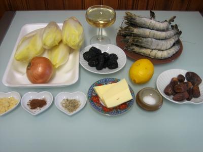 Ingrédients pour la recette : Gambas aux endives et ses crêpes