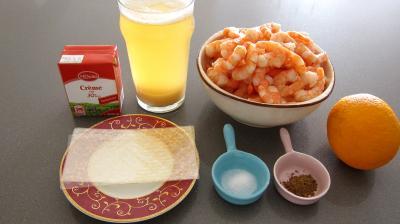 Ingrédients pour la recette : Mousse de gambas à la gelée d'orange