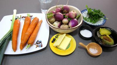 Ingrédients pour la recette : Navets beurre et jus de volaille