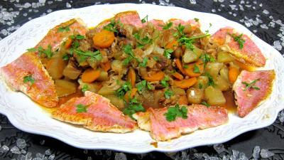 Recette Assiette de rougets au chou chinois et chayottes