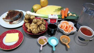 Ingrédients pour la recette : Soupe de thon aux topinambours