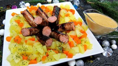 plat complet : Assiette de saucisses moutarde