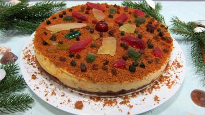 Recette Gâteau fromage blanc aux spéculoos et ses fruits confits
