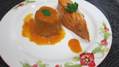 Recette Assiette de saumon aux flans de cocos