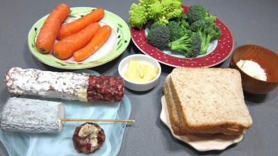 Ingrédients pour la recette : Crudités et fromage de chèvre grillé