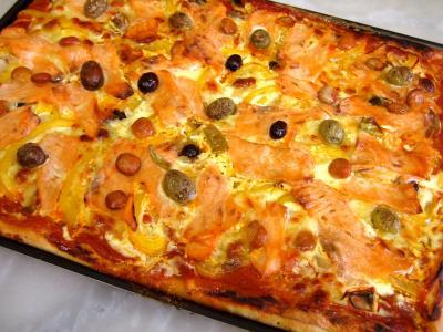 pâte à pizza : Pizza au saumon fumé