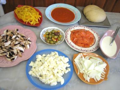Ingrédients pour la recette : Pizza au saumon fumé