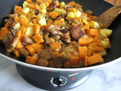 Recette Pommes de terre et patates douces aux cèpes