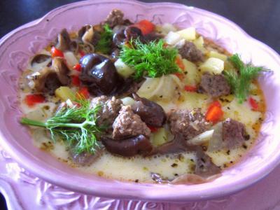 Recette Assiette de potage de fenouil et poivron