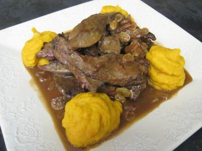 Recette Foie de veau aux raisins secs et au potimarron
