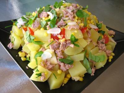 sauce vinaigrette au basilic : Assiette de salade de thon et poivrons