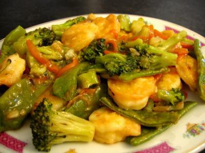 Recette Sauté de crevettes aux légumes