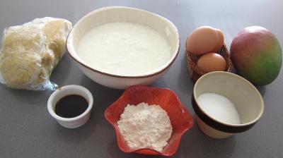 Ingrédients pour la recette : Tarte au caillé de vache à la mangue