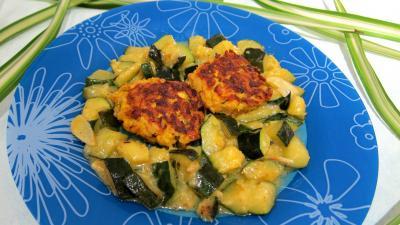 plat complet : Assiette de boulettes de saumon aux courgettes façon marocaine
