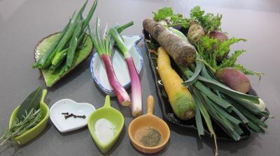 Ingrédients pour la recette : Bouillon de légumes à l'oignon rouge