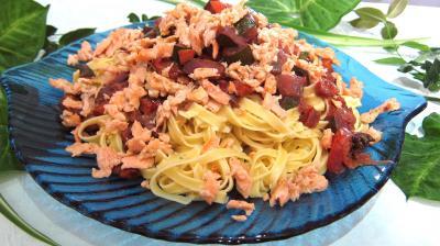 plat complet : Assiette de tagliatelle au saumon