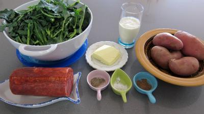 Ingrédients pour la recette : Broutes en purée au chorizo à la landaise