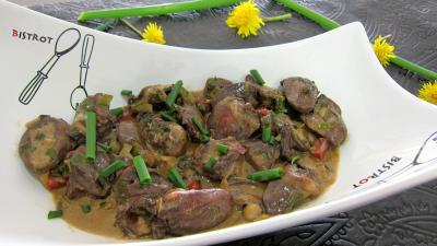 Cuisine diététique : Saladier de coeurs de canard au marsala