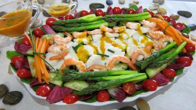 asperge : Assiette de noix de saint Jacques en salade