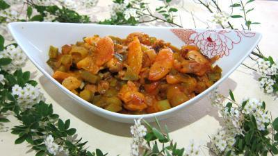 plat complet : Saladier de mijoté de poulet aux abricots