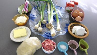 Ingrédients pour la recette : Tarte aux poireaux et au chèvre