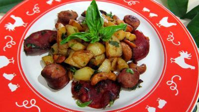 plat complet : Assiette de pommes de terre au chorizo