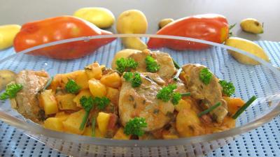 cuisson au vin : Saladier de filet mignon aux pommes de terre