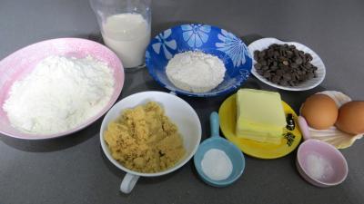 Ingrédients pour la recette : Muffins aux pépites de chocolat