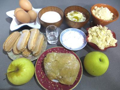 Ingrédients pour la recette : Tarte aux pommes et aux noisettes
