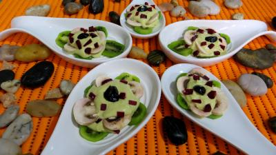 Cuisine dittique : Cuillres aux kiwis en amuse-bouche ou entre