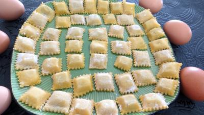 Recette Assiette de raviolis faits maison