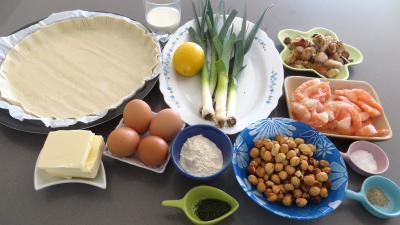 Ingrédients pour la recette : Tarte aux poireaux et aux gambas