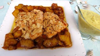 Poissons : Assiette de filets de truite aux amandes et ananas