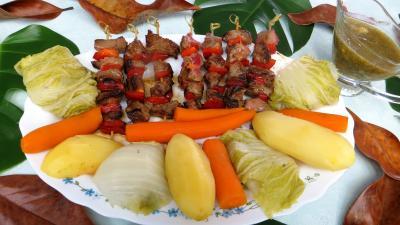Recette Brochettes de boeuf et légumes à la vapeur