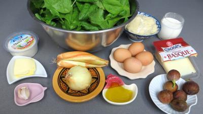 Ingrédients pour la recette : Tarte aux épinards et chèvre frais