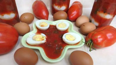 Conserves : Coupelle de sauce tomates aux oeufs
