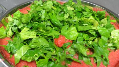 Sauce tomate pizza aux épinards (conserves) - 6.4