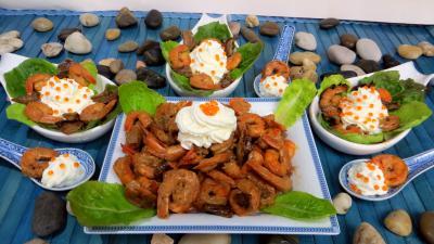 cuillères : Cuillères de crevettes à la Chantilly