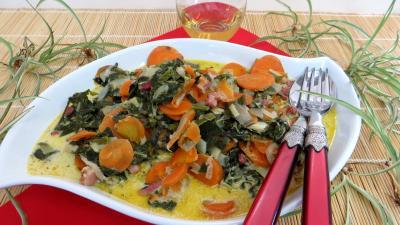 persil déshydraté : Assiette de carottes et blettes façon carbonara