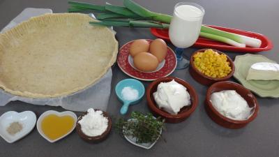 Ingrédients pour la recette : Tarte aux poireaux et au maïs
