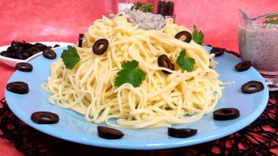 Recette Nouilles à la crème d'olives
