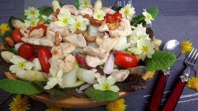 Image : Assiette de poulet aux asperges en salade